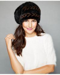 The Fur Vault - Herringbone Knitted Mink Slouchy Beret - Lyst