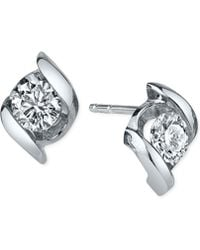 Sirena - Diamond Twist Stud Earrings (1/3 Ct. T.w.) In 14k White Gold - Lyst
