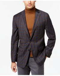 Vince Camuto - Men's Slim-fit Gray/brown/blue Multi-plaid Wool Sport Coat - Lyst