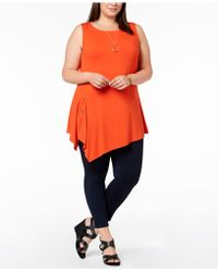 Joseph A - Plus Size Asymmetrical Sleeveless Top - Lyst
