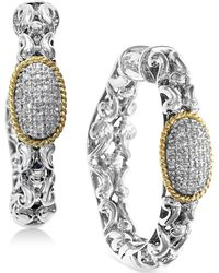 Effy Collection | Diamond Cluster Chain Hoop Earrings (1/5 Ct. T.w.) In Sterling Silver & 18k Gold | Lyst