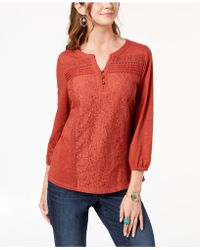 Style & Co. - Cotton Lace-trim Top, Created For Macy's - Lyst