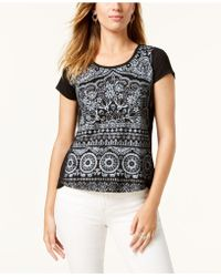Style & Co. - Printed Dolphin-hem T-shirt, Created For Macy's - Lyst
