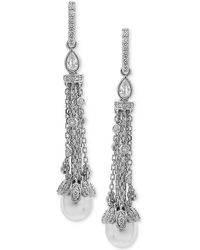 Arabella - Cultured Freshwater Pearl (8 X 10mm) & Swarovski Zirconia Linear Drop Earrings In Sterling Silver - Lyst
