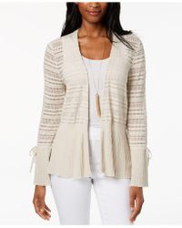 Style & Co. - Cotton Pointelle Peplum Cardigan, Created For Macy's - Lyst