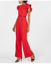 Calvin Klein - Belted Ruffle-sleeve Jumpsuit - Lyst