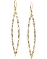 ABS By Allen Schwartz - Earrings, Gold-tone Pave Crystal Marquise Drop Earrings - Lyst