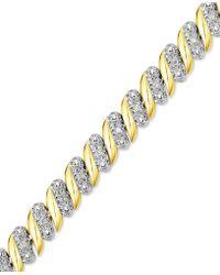 Macy's - Diamond (1/4 Ct. T.w.) Zig Zag Bracelet In 14k Gold-plated Sterling Silver - Lyst