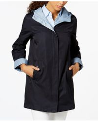 Jones New York | Petite Colorblocked Raincoat | Lyst