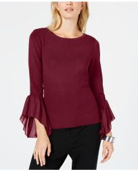 INC International Concepts - I.n.c. Flared Georgette-cuff Sweater, Created For Macy's - Lyst