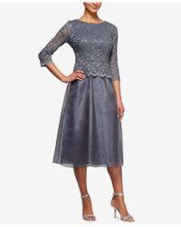 Alex Evenings - Embellished Lace Tea-length Dress - Lyst