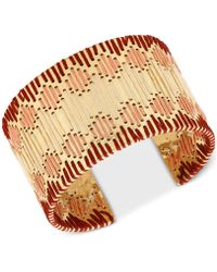 Lucky Brand - Gold-tone Threaded Cuff Bracelet - Lyst