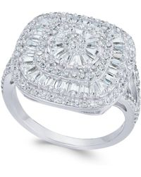 Macy's | Cubic Zirconia Square Cluster Ring In Sterling Silver | Lyst