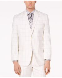 Sean John - Classic-fit Stretch White/gray Windowpane Suit Jacket - Lyst