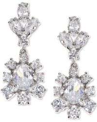 Marchesa - Silver-tone Cubic Zirconia Cluster Drop Earrings, Created For Macy's - Lyst