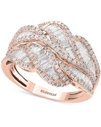 Effy Collection - Classique By Effy® Diamond Baguette Swirl Ring (1-1/4 Ct. T.w.) In 14k Rose Gold - Lyst
