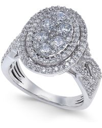Macy's - Diamond Oval Halo Cluster Engagement Ring (1-1/2 Ct. T.w.) In 14k White Gold - Lyst