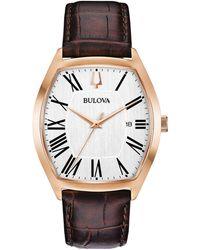 Bulova - Dress Brown Leather Strap Watch 37x44mm - Lyst