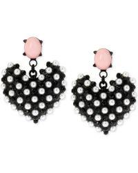 Betsey Johnson Black-tone Faux Pearl Heart Earrings