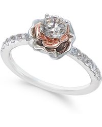 Macy's | Diamond Bouquet Engagement Ring (3/4 Ct. T.w.) In 14k White And Rose Gold | Lyst
