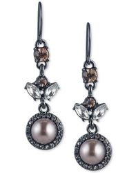 Carolee | Hematite-tone Crystal & Gray Imitation Pearl Drop Earrings | Lyst