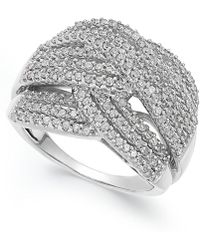 Macy's - Diamond Wave Ring In 10k White Gold (1 Ct. T.w.) - Lyst