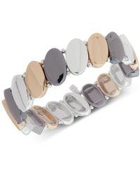 Nine West - Tri-tone Oval Disk Stretch Bracelet - Lyst