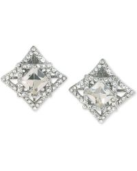 Carolee - Silver-tone Geometric Crystal Clip-on Earrings - Lyst