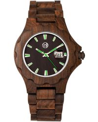 Earth Wood - Gila Wood Bracelet Watch W/magnified Date Brown 43mm - Lyst