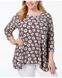 Anne Klein - Plus Size Printed Swing Top - Lyst
