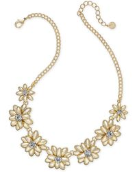 "Charter Club - Gold-tone Crystal & Stone Flower Statement Necklace, 17"" + 2"" Extender, Created For Macy's - Lyst"