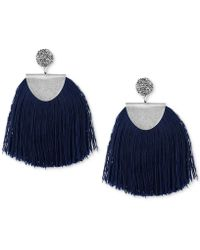 Lucky Brand   Silver-tone Pavé & Blue Fringe Drop Earrings   Lyst