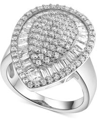 Macy's - Cubic Zirconia Teardrop Cluster Ring In Sterling Silver - Lyst