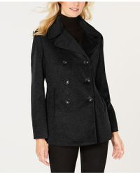 Calvin Klein - Petite Double-breasted Peacoat - Lyst