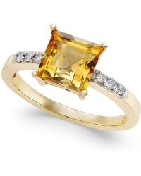 Macy's - Citrine (1-3/4 Ct. T.w.) & Diamond (1/10 C.t.t.w.) Ring In 14k Gold - Lyst