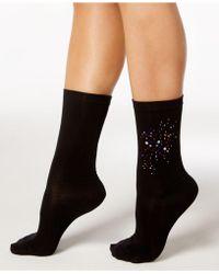 Hue - Women's Rhinestone Cluster Socks - Lyst