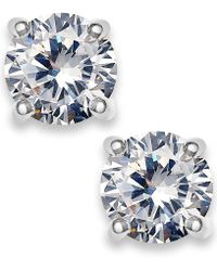 Charter Club - Silver-tone Cubic Zirconia Round Stud Earrings - Lyst