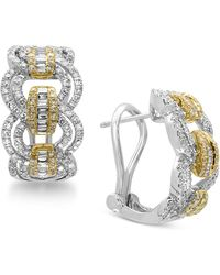 Effy Collection - Diamond Hoop Earrings (1-1/5 Ct. T.w.) In 14k White And Yellow Gold - Lyst