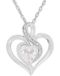 Macy's - White Topaz (1-3/8 Ct. T.w.) And Diamond Accent Heart Pendant Necklace In Sterling Silver - Lyst
