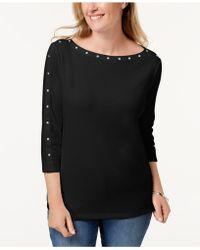 460459d040a Lyst - Missguided Plus Size Black Stud Detail Choker Neck T-shirt in ...