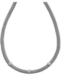 Macy's - Diamond Mesh Necklace In Sterling Silver (1/4 Ct. T.w.) - Lyst