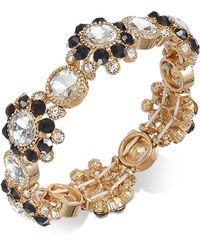 Charter Club | Gold-tone Clear & Jet Crystal Stretch Bracelet | Lyst