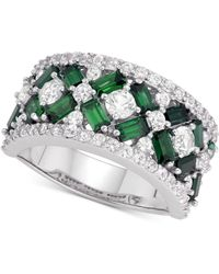 Macy's - Cubic Zirconia Simulated Emerald Cluster Statement Ring In Sterling Silver - Lyst