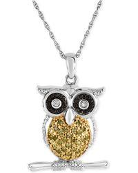Macy's - Diamond Owl Pendant Necklace (1/10 Ct. T.w.) In Sterling Silver - Lyst