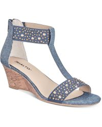 Rialto - Cleo Embellished Wedge Sandals - Lyst