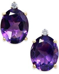Macy's | Amethyst (4-1/2 Ct. T.w.) And Diamond Accent Stud Earrings In 14k Gold | Lyst