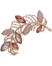 Anne Klein - Rose Gold-tone Pavé & Stone Feather Pin, Created For Macy's - Lyst