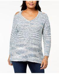 Love Scarlett - Plus Size Cold-shoulder Spacedye Sweater - Lyst