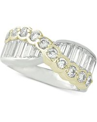 Giani Bernini - Two-tone Cubic Zirconia Crossover Statement Ring, Created For Macy's - Lyst