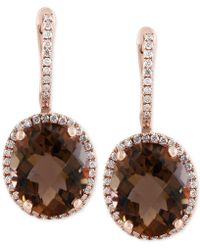 Effy Collection - Sienna By Effy® Smoky Quartz (7-7/8 Ct. T.w.) And Diamond (3/8 Ct. T.w.) Drop Earrings In 14k Gold - Lyst